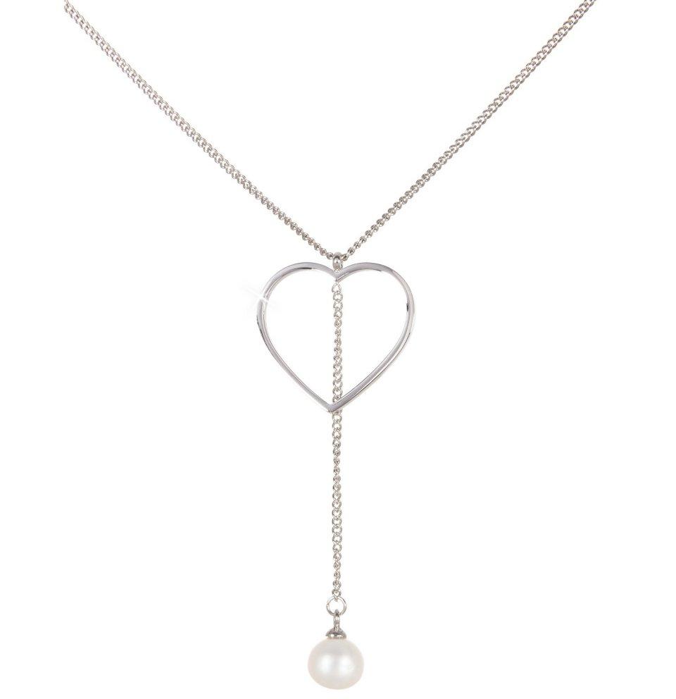 Řetízek Srdce s perlou, bílý
